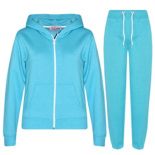 a2z4kids A2Z 4 Kids® Kinder Mädchen Jungen einfarbig Trainingsanzug Kapuzenpullover - T.S Plain Aqua 2-3