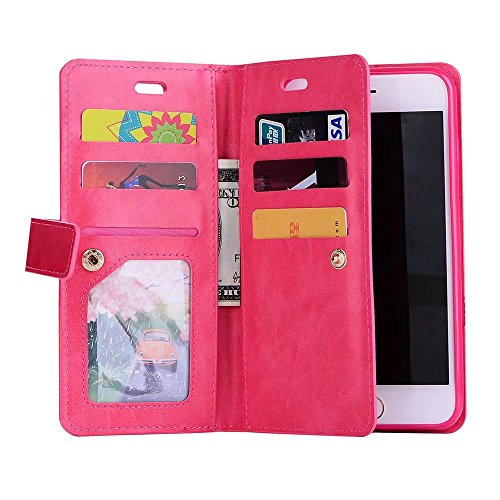 Hülle für iPhone 7 plus , Schutzhülle Für IPhone 7 Plus, Luxus Fashion Wallet Beutel Case 9 Card Slots PU Ledertasche Cover mit Reißverschluss & Lanyard & Kickstand ,hülle für iPhone 7 plus , case for Red