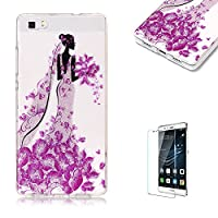 For Huawei P8 Lite Sparkly Sequins soft TPU+IMD Case. Brilliant lovely Colored Drawing Parttern Lightweight Ultra Slim Anti Scratch Transparent Soft Gel Silicone TPU Bumper Protective Case Cover Shell for Huawei P8 Lite - Princess