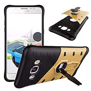 Micomy Hybrid Soft Armor with 360 Kick Stand Sniper Back Cover Case for Samsung J7 2016 Model J710 - Gold