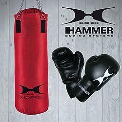 Hammer 92074 - Conjunto de saco de boxeo y guantes (80 cm), color rojo y negro