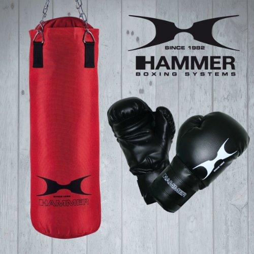Hammer 92074 - Conjunto de saco de boxeo y guantes (80 cm), color rojo
