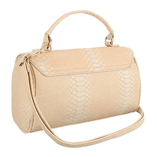 Damen Schultertasche Handtasche Tragetasche Shopper Beige Schwarz Blau Braun Pink Rot Grau Weiß Gelb Beige