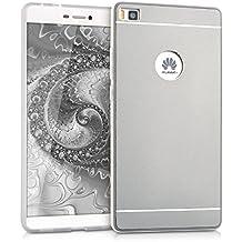 kwmobile Funda protectora rígida para Huawei P8 con parte trasera de aluminio y marco de silicona TPU - carcasa en plata
