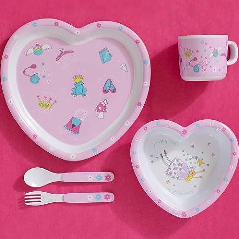 Hada Corazón Infantil en caja de regalo juego de utensilios para comer–5piezas