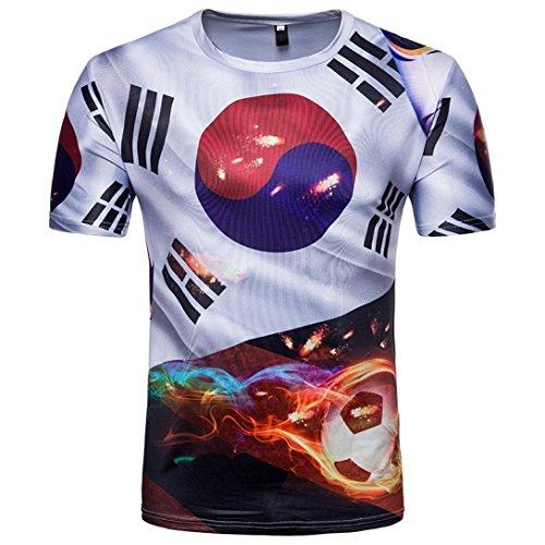 Fußball Cowboy-kragen (GreatestPAK Sommer T-Shirt Herren Fußball Print Bluse Kurzarm T Shirts,Schwarz,XXL)