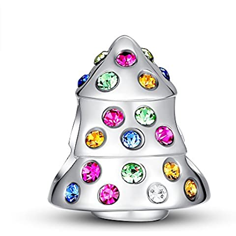 Glamulet Art Women's 925 Sterling Silver Colorful Swarovski Crystal Funky Christmas Tree Bead Charm Fits Pandora Bracelet by Glamulet