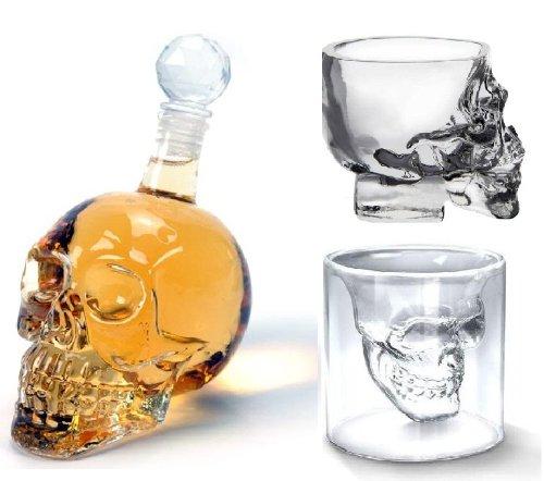 bottiglia cranio sealche impostare due set di bicchierini e bottiglie di whisky (ideali per interni e bar nella progettazione Skull Skull) (Giappone importazione)