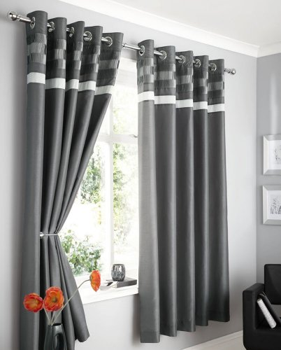 CHARCOAL FAUX SILK LINED CURTAINS WITH EYELET RING TOP 66 x 90 OPULENCE