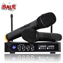 LESHP S9-UHF Professional Wireless LCD Microphone System with 2 Handheld Microphones for Karaoke Party Meeting