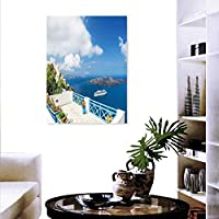 "Anyangeight Landscape Landscape Wall Stickers Beautiful Terrace Sea View White Architecture on Santorini Island Greece Wall Stickers 32""x36"" Blue White"