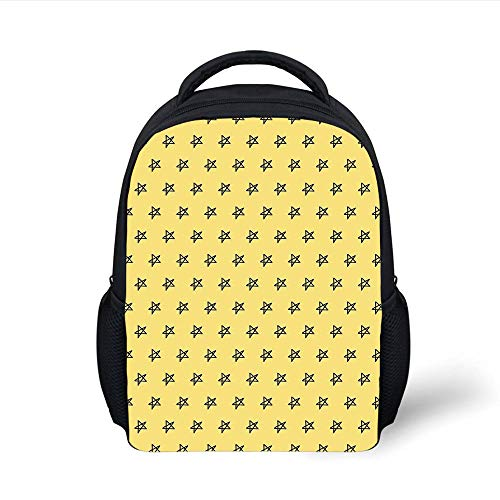 Yellow,Kindergarten Kids Hand Drawing Sketchy Galaxy Space Theme Stars Image,Light Yellow and Black Plain Bookbag Travel Daypack ()