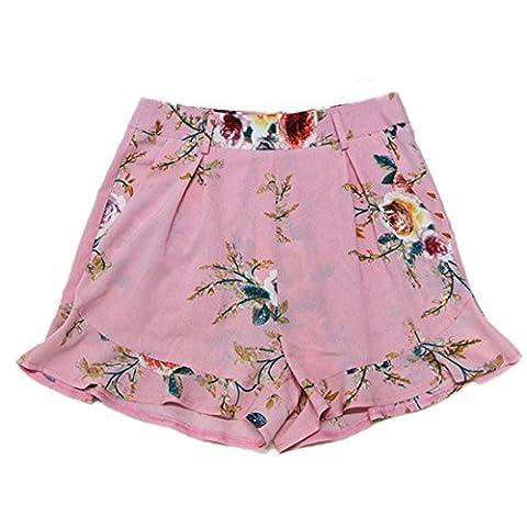 2017 Vovotrade®Women Fashion Skirt Summer Floral Print Short Pants (Pink, M)