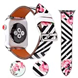 Für Apple Watch Armband 38mm 42mm Leder Blume Armbänder für Herren Damen iwatch Armband Series 3 Series 2 Series 1