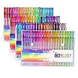 80 Stück Glitzer Gelschreiber Gelstifte Set Multicolor Gel Stift Set (keine Duplikate) toll für Erwachsene Färbungsbücher Zeichnung Malbücher