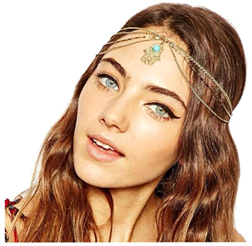 Hände Kostüm - Culater® Shiny Metal Head Fatima Kette Schmuckkette Stirnband Kopfschmuck Haar-Band