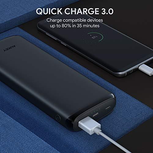 AUKEY Power Bank USB C da 20000mAh, Caricatore Portatile con 18W Power Delivery, Quick Charge 3.0, Batteria Compatibile con Phones Nintendo Switch, Tablet e Molti Altri dispositivi