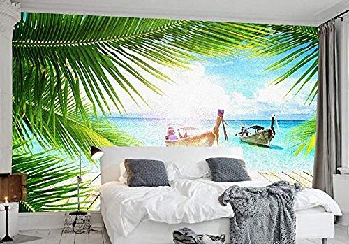 FSKJBZ Personnalisé 3D Papier Peint Rêve Vue Mer Arbres De Noix De Coco Plage Paysage Salon Chambre à coucher Tv Fond Murale Photo @ 350cmx245cm