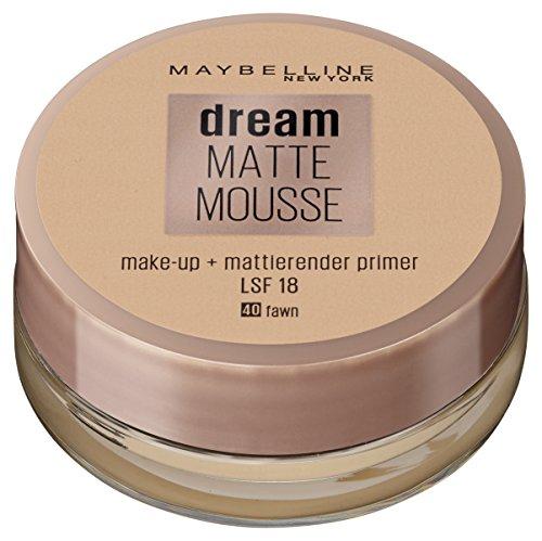Maybelline Dream Matte Mousse Make-up Nr. 40 Fawn, mattierendes Make-up mit luftgeschlagener Mousse-Textur, für ein luftig-leichtes Tragegefühl und wunderbar zarte Haut, 18 ml (Teint Foundation Matte)