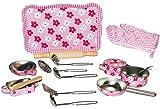 Topfset: Tablett - Geschirr - aus Metall + Küchenhelfer + Nudelholz + Topflappen - Töpfe Kochtopf für Kinder - Spiel Set Kochgeschirr - Küche Zubehör - Kindergeschirr - Puppengeschirr - Kindertöpfe Kochtöpfe - rosa für Mädchen - Kochtopfset