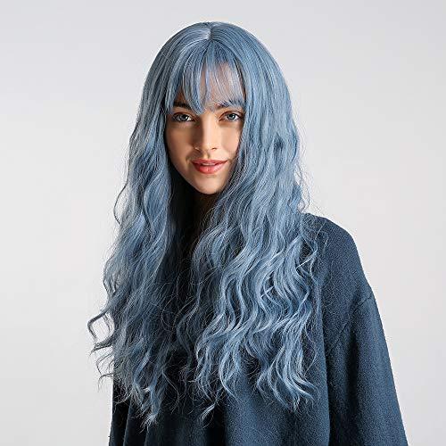 24 Zoll Blaue lange gewellte Haar Perücken, Luckyfine blaue Damenperücke mit Ponys, langes gewelltes Haar, synthetische volle Perücken, hitzebeständige Faser synthetische Cosplay Perücke