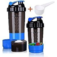 Botella de cocción de proteínas – 3 capas de almacenamiento de torsión y candado con 16 oz de proteínas Shaker taza con almacenamiento/Diet Shaker/botella de agua 500 ml con cuchara y candado de almacenamiento a prueba de fugas botella de batido para al aire libre viaje oficina hogar, azul