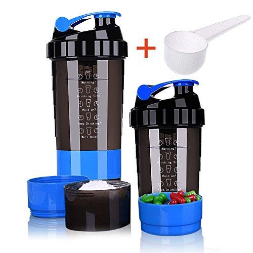 Protein Shaker Bottle - Almacenamiento de 3 Capas por Giro y Bloqueo con 16 oz. Protein Shaker Cup con Almacenamiento/Diet Shaker/Water Bottle 500ml con Cuchara