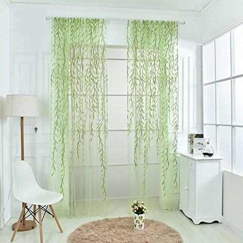 Wingogo Vorhänge Weide Blätter Muster Ländlichen Stil Offset Blind bedruckt Glas Garn für Wohnzimmer Schlafzimmer