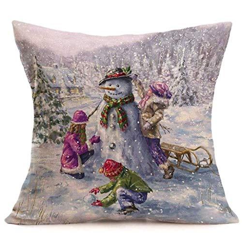 Federa di natale, scpink buon natale lino pupazzo di neve federe per cuscini cuscino per divano decorazione per la casa (a)