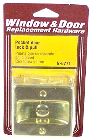 Prime-Line Products N 6771 Pocket Door Privacy Lock with Pull, Polished Brass by Prime-Line Products
