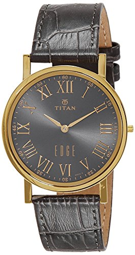 Titan Men's 'Edge' Quartz Stainless Steel and Leather Casual Watch, Color Grey (Model: 1595YL02)