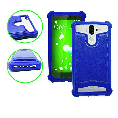 Yezz Andy 5EI2 Coque arrière façon cuir bleu contours en silicone gel anti-chocs by PH26®