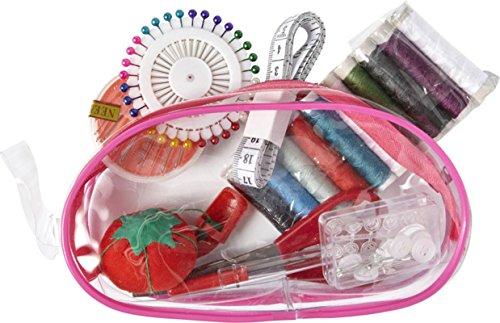 Nähset All in one Nähzubehör mit transparenter PVC-Tasche Nähkästchen Farbwahl Hellblau (Rosa)