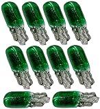 Aerzetix: Lot de 10 ampoules T5 1.2W 12V W1.2W W2X4.6D vert veilleuses tableau de bord pour auto voiture - C15778