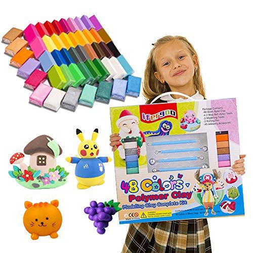 ifergoo Knete Soft Set Polymer Ton 48 Farben Polymer Clay, Ofenbackton, 36 Normalfarben + 12 Farben Sonderfarben , 3 Modellierwerkzeuge und 40 Schmuckzubehör, sichere und ungiftige DIY-Backlehmblöcke