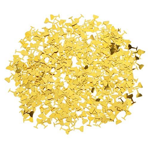 SM SunniMix Metallic Konfetti Streudeko Streuartikel Tischdeko für Hochzeit Geburtstag und Party - Gold Wein Gläser, 0,9 x 0,9 cm