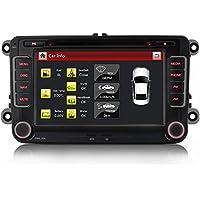 'ifrego 7Radio de coche para Volkswagen Golf 5/6, Passat CC, Tiguan, Polo, Jetta, SKODA FABIA COMBI dal, SKODA OCTAVIA, YETI, SEAT LEON, VW Up, Touran, Candy, SHARAN, Amarok, New Beetle 2, Scirocco, Eos, con 3G WiFi DVD GPS navegación Navi USB SD Bluetooth Auto Radio GPS Navi DVD USB MP3CD Moniceiver naviceiver con software de navegación GPS Incluye Tarjetas de Europa + Tarjeta micro-sd + Dual USB Conector + Bluetooth + Canbus + Dual Zona + Subwoofer + Doble DIN/2DIN con GPS Antena + HD capacitiva de la pantalla + 7LED