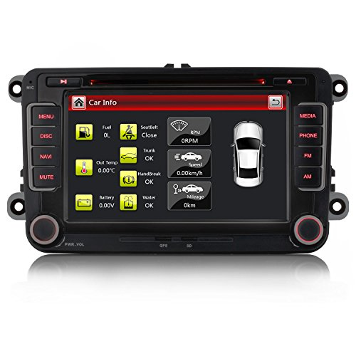 Für VW Golf 5/6,Passat,Tiguan,Polo,Jetta,Skoda Fabia, Octavia,Yeti, Seat Leon,Touran,Candy, Sharan,EOS, 3G WiFi GPS Navigation NAVI USB SD Bluetooth DVD MP3+HD+7 LED ()