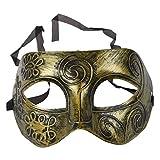 Yililay Kunststoff altgriechischen römischer Soldat Männlich venezianischer Partei-Maskerade-Masken-Halloween-Gold- Schmuck Zubehör