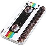 deinPhone Apple iPhone 5 5S HARDCASE Hülle Case Retro Kassette Weiß