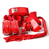Lot de 7 Jouets Kits du SM Erotique Lady Toys Sex de Nuit Couples Outils Rouge Menottes Entraves aux Pièds Corde Collier avec Laisse Fouet Baîllon Blindage des Yeux - Intimate Melody