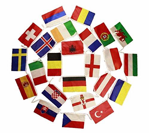 HAAC Fahnen Girlande Wimpelkette mit 24 Teilnehmer Länder 10 Meter Größe je Fahne 21 cm x 14 cm Fußball EM 2016