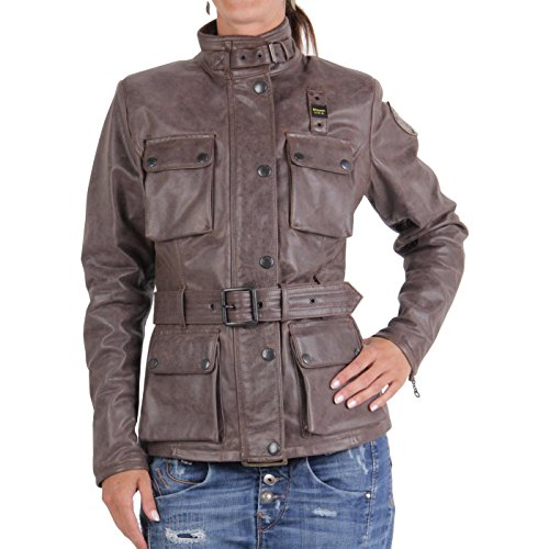 BLAUER USA Damen Winter Lederjacke Brown 0748 Größe S