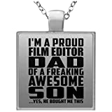 Proud Film Editor Dad Of Awesome Son - Square Necklace Halskette Quadrat Versilberter Anhänger - Geschenk zum Geburtstag Jahrestag Muttertag Vatertag Ostern