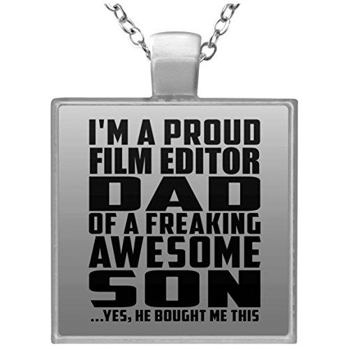 (Proud Film Editor Dad Of Awesome Son - Square Necklace Halskette Quadrat Versilberter Anhänger - Geschenk zum Geburtstag Jahrestag Muttertag Vatertag Ostern)
