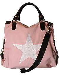 VERA PELLE - Made in Italy - Bolso de asas de Lona para mujer rosa Hellrosa - L