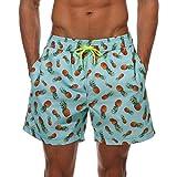 Hibote Pantalones cortos de playa para hombres de secado rápido Pantalones cortos de natación con estampado de piña a prueba de agua Traje de baño con bolsillos
