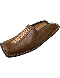 Step n Style Hombres Hecho a mano marfil tradicional jamawarr-leather-khussa Aladdin Khussa, color Negro, talla 39