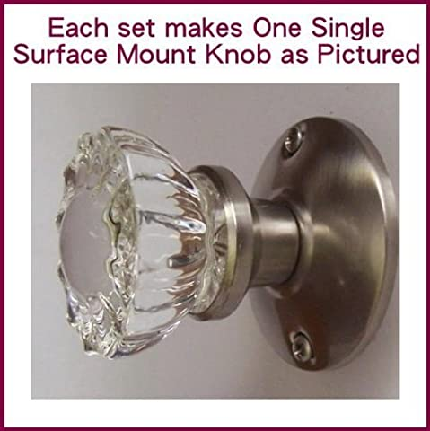 Crystal Antique Brushed Nickel (Pewter) Surface Mount Single Dummy/French Door Knob Set by Rousso's (Brushed Pewter Knob)