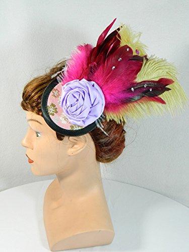 Fascinator pink beige Feder Kopfschmuck Haarschmuck Burlesque Karneval Dragqueen Damenhut (Showgirl Feder Kopfschmuck Kostüm)